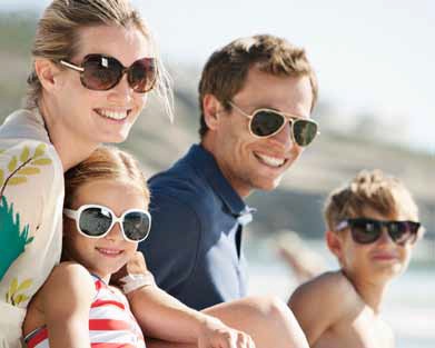 Family wearing sunglasses