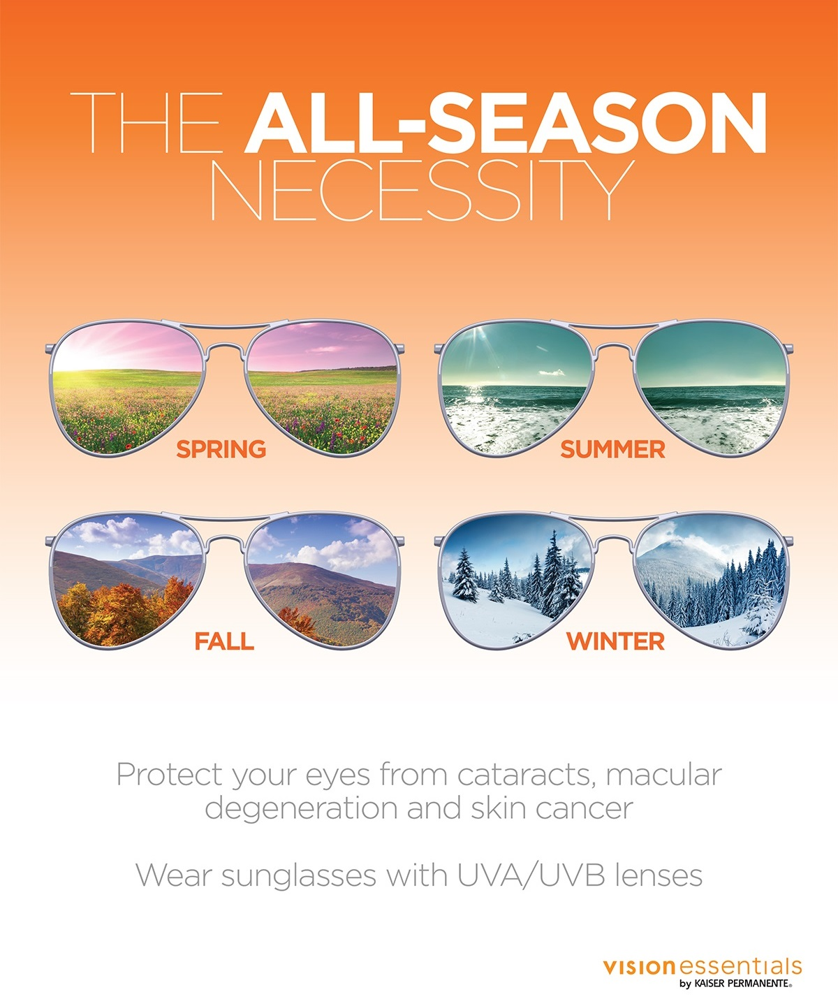 Wear sunglasses with UVA/UVB lenses to protect your eyes from cataracts, macular degeneration and skin cancer image
