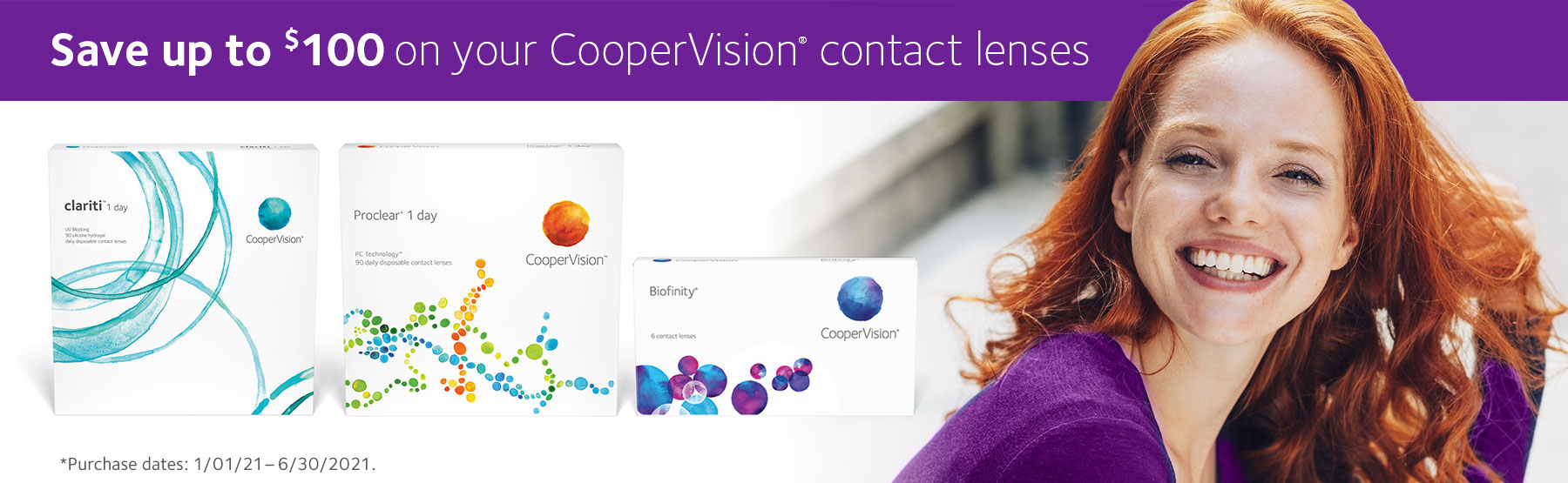 Save up to $100 on your CooperVision contact lenses