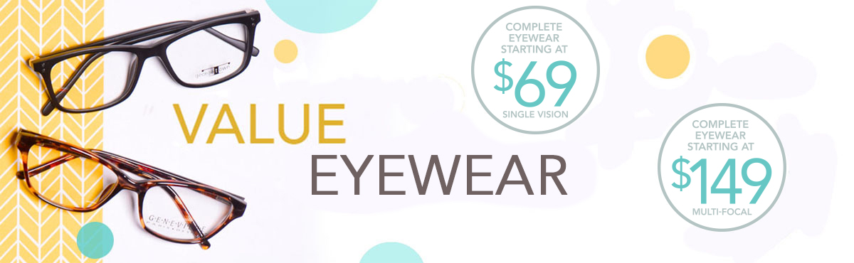 Complete eyewear (frame & lenses) starting at $69 for single vision and $149 for progressive eyewear.